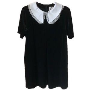 UNIF Lace Collar Black Velvet Shift Dress Large